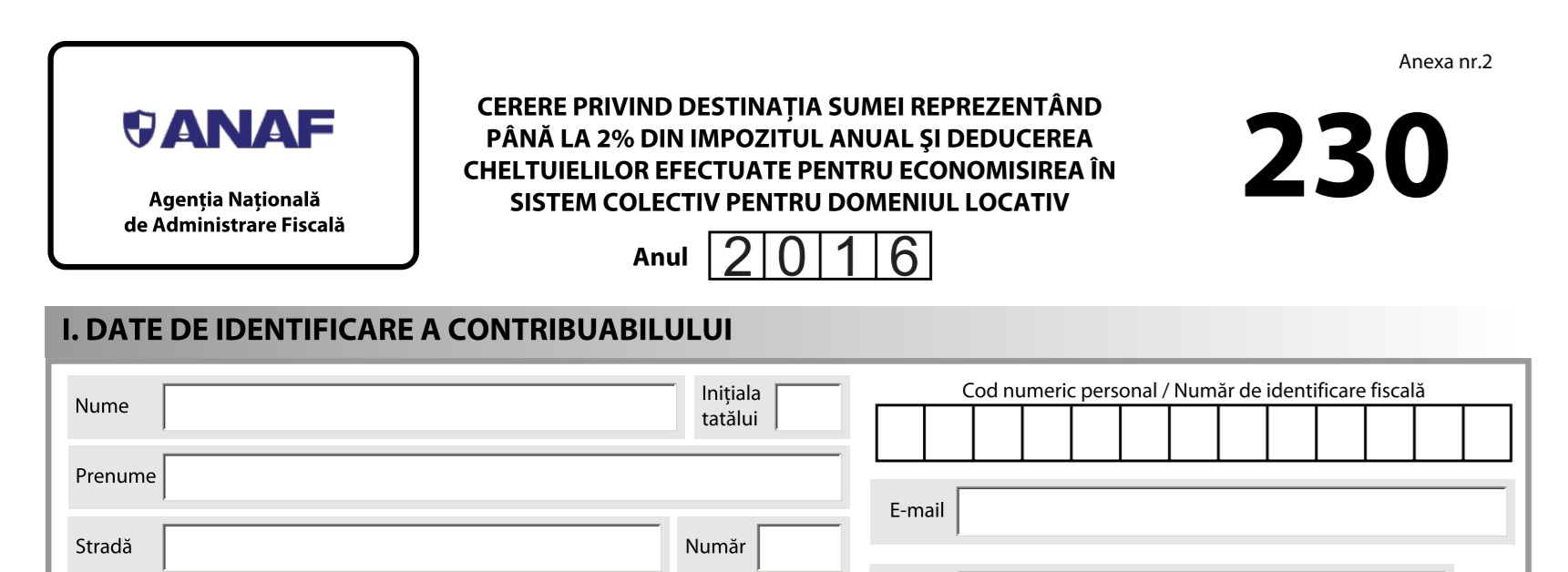 Formular 230 – 2016